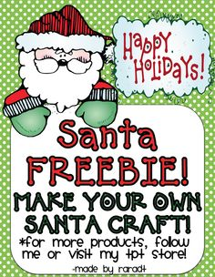 "FREE LESSON - ""Santa Craft FREEBIE!""- Go to The Best of Teacher Entrepreneurs for this and hundreds of free lessons.   PreKindergarten - 2nd Grade  #FreeLesson  #Christmas     http://www.thebestofteacherentrepreneurs.net/2012/12/free-misc-lesson-santa-craft-freebie.html"