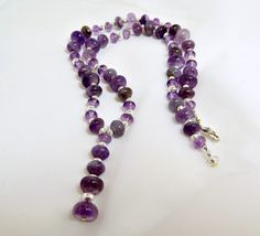 Amethyst Rondelle and SP Fluted Bead Necklace by BeadsGalore2, $40.00