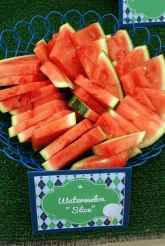 This is actually a party theme pin...but got me thinking...how cool would it be to have a cooler of watermelon slices at a golf tourney instead of all that granola and nuts...especially on a hot day!