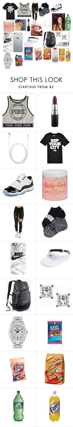 """""""sister house this weekend 😊👅👑✨💘😘"""" by londonwashere ❤ liked on Polyvore featuring MAC Cosmetics, NIKE, Concord, Kinky-Curly, Casetify, Montebello Jewelry, Rolex, Hard Candy and MANGO"""
