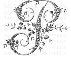 Antique FRENCH FLORAL ALPHABET Large Letter by RareVintagePatterns