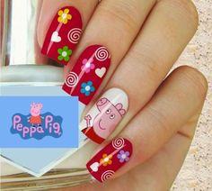 pig-peppa-nail-design – Yasmina's Third Birthday Pig Nail Art, Pig Nails, Peppa Pig, Black Nail Polish, Polish Nails, Nail Polish Stickers, Nails For Kids, Green Nails, Cute Nail Designs