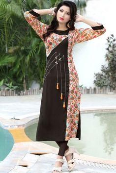 Printed Kurti Designs, Salwar Designs, Kurta Designs Women, Kurti Designs Party Wear, Ladies Kurti Design, Ladies Design, New Kurti Designs, Kurti Sleeves Design, Kurta Neck Design