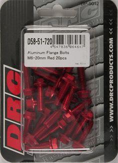 DRC-ALUMINUM FLANGE BOLTS RED M6X20MM 20/PK pn# D58-51-720