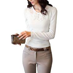 Allegra K Women Scoop Neck Long Sleeve Pullover Sweet Spring Shirt White XS Allegra K. $8.36