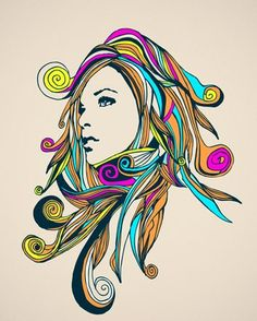 """""""Swirly Girly"""" - canvas wall art at Wheatpaste Art Collective"""