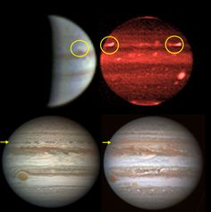 In late 2016, from aboard the Juno spacecraft, NASA's JunoCam captured pictures of four huge Jovian storms (top left, circle). The plumes were also captured at infrared wavelengths with NASA's Infrared Telescope Facility (see top right, circles). They generated a disturbance that propagated along the latitude circle, as shown in detail by Pic du Midi Observatory images (bottom left, arrow). Credit: Sánchez-Lavega et al. [2017]