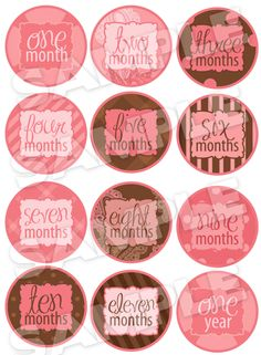 Monthly Baby Onesie Iron-On Stickers Pink and Brown Set. $15.00, via Etsy. Love this baby shower gift idea.