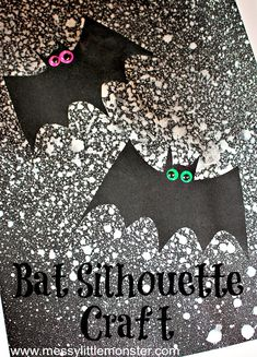 Make a bat silhoutte craft using our printable bat template. This bat craft for kids uses a fun painting technique - spray painting. What a fun Halloween craft for kids. Preschoolers will love it! Halloween Theme Preschool, Fun Halloween Games, Halloween School Treats, Halloween Activities For Kids, Halloween Party Supplies, Halloween Crafts For Kids, Halloween Themes, Crafts To Make, Preschool Age