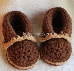 crochet Chocolate/Tan moccasins shoes U pick size (Great for portraits) Crochet Baby Clothes, Crochet Baby Shoes, Crochet For Boys, Newborn Crochet, Free Crochet, Booties Crochet, Crochet Slippers, Pattern Baby, Baby Patterns