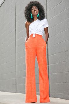 One Shoulder Cotton Top + High Waist Trousers (Style Pantry) Look Fashion, Fashion Outfits, Spring Fashion, Preppy Style, My Style, Style Pantry, Trouser Outfits, Blazers, Work Attire