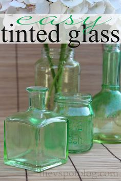 Make easy DIY tinted glass from old bottles and jars.