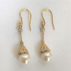Gold, Diamond and Pearl Drop Earrings Pearl Drop Earrings, Vintage Jewellery, Pendants, Diamond, Antiques, Jewelry, Pearl Earrings, Jewellery Making, Antiquities