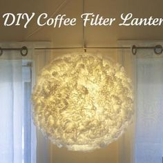 Coffee Filter Pendant Light... My mom actually made one and it turned out great!