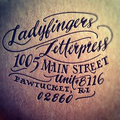 Black Letterpress Hand-Lettered Return Address on Kraft Paper by Ladyfingers Letterpress