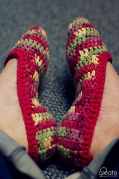 Definitely going to be making these! Crochet slippers. Warm AND cute to boot! I'm thinking maybe add a little crochet flower to it? Or a fabric flower with button center? Make them your own! Get creative!