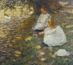 Helen McNicoll, Fishing, c. 1907, oil on canvas, 87.6 x 101 cm, private collection. #ArtCanInstitute #CanadianArt