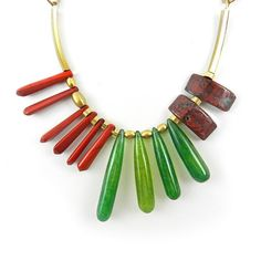 Trendy Funky Necklace Gemstone Statement Necklace Red And Green Stone Necklaceby osofreejewellery