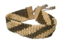 Bead Loom Bracelet Tan and Brown by SmileykitCreations on Etsy, $25.00