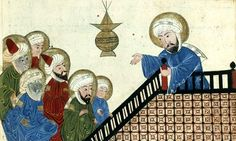 Mohammed SAW preaching his final sermon to his earliest converts, on Mount Ararat near Mecca;from a medieval manuscript of the astronomical treatise The Remaining Signs of Past Centuries by Persian scholar al-Biruni Religious Symbols, Religious Art, Die Verurteilten, Caricatures, Buch Design, Image Archive, Medieval Manuscript, Historical Art, Prophet Muhammad