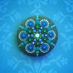 Jewel Drop Mandala Painted Stone Pacific Ocean by ElspethMcLean