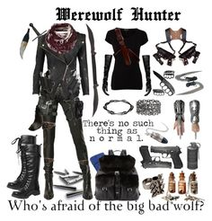 Arctic is a werewolf but he goes for the clothes and weapons of the werewolf hunter Fandom Outfits, Emo Outfits, Cosplay Outfits, Girl Outfits, Fashion Outfits, Zombie Apocalypse Outfit, Mode Emo, Werewolf Hunter, Kleidung Design