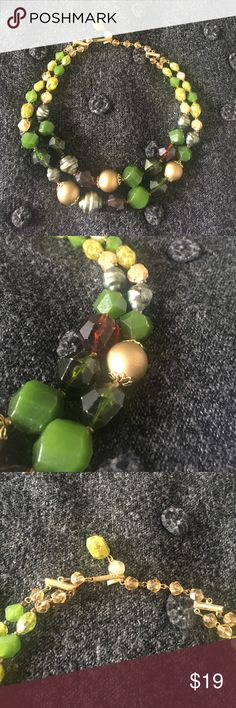 "Vintage German Plastic MultiStrand Beaded Necklace Rare Pre-WWII plastic beaded necklace made in Germany during the 1940's.  This is a collectible piece which is also a beautiful item to wear to any event. This necklace features two strands  of opaque and marbled green beads, some with a pearlescent sheen and faceted finishing. Some of the pearlescent beads have some wear. This necklace is adjustable from 15""- 17"". I'm so sad to let this go, and I want it to go to a good home! Jewelry…"