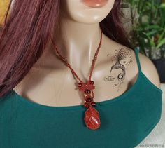Micro Macrame pendant with energised Red Jasper. Can be used as Amulet, talisman, healing stone. Reiki stone. purple crystal necklace. - pinned by pin4etsy.com