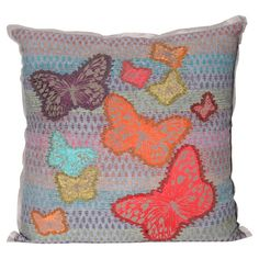 """Striped throw pillow with a multicolor butterfly motif.  Product: PillowConstruction Material: Cotton-polyester cover and polyester fillColor: MultiFeatures: Insert includedDimensions: 17"""" x 17""""Cleaning and Care: Spot clean"""