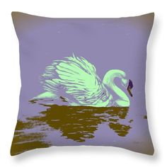Swan Throw Pillow featuring the painting Dream Swan by Faye Anastasopoulou