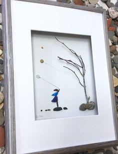 Pebble Art Girl with Balloons Modern Wall Art Abstract