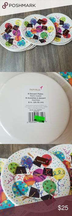 Graduation themed dessert plates set New never used Papyrus brand graduation dessert plates set. 10 packages, 8 to a package. Want to break it up? Let me know. I'll make a new listing. Papyrus Other