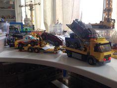 Lego Truck, Fire Trucks, Telephone, Legos, Garage, Pink, Carport Garage, Lego, Phone