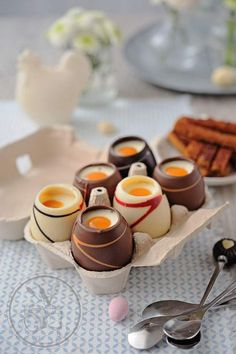 Dessert of easter chocolate eggs mascarpone and passion fruit coulis Desserts Ostern, Easter Desserts, Chocolate Easter Cake, Easter Biscuits, Candy Cakes, Vegan Meal Prep, Sweet Pastries, Vegan Thanksgiving, Gluten Free Cookies