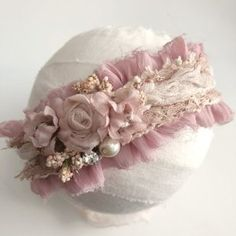 Ruffled tieback, fits newborn and upPlease allow up to 10 days for this item to ship as it is made to order Silk Ribbon Embroidery, Lace Ribbon, Ribbon Work, Handmade Headbands, Newborn Headbands, Baby Girl Headbands, Ribbon Crafts, Fabric Crafts, Diy Crafts