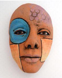 Ceramic Mask Blue Circle and Yellow Square Mask