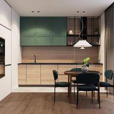 48 Ideas light green kitchen cupboards for 2020 Kitchen Room Design, Modern Kitchen Design, Home Decor Kitchen, Interior Design Kitchen, Home Kitchens, Interior Desing, Interior Modern, Green Kitchen, New Kitchen