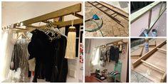 Low Cost Wooden Ladder Wardrobe holding Monsieur Saint Laurent. Bricolage. Decoration. Golden ladder.