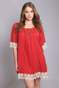 *** clearly this needs to be longer*****Lace Embellished Tunic Dress - 3 COLORS – Honey Penny Boutique Plus Size Dresses. Plus-Size Dress. Curvy Fashion, Plus Size Fashion, Boho Fashion, Girl Fashion, Womens Fashion, Plus Size Dresses, Plus Size Outfits, Looks Plus Size, Plus Size Kleidung