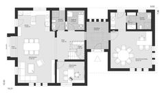 ELK Haus 153 mit Büro Anbau & Zwerchgiebel - ELK Fertighaus | HausbauDirekt Bungalow, Haus Am Hang, Villa, Bedroom House Plans, Bauhaus, My House, Floor Plans, How To Plan, Architecture