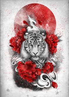 white tiger red sun