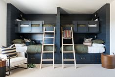 Enjoy the fun spaces of our SM Ranch Remodel! Black Bunk Beds, Bunk Beds Built In, Interior Decorating Styles, Interior Design, Interior Walls, Bunk Rooms, Attic Rooms, Bunk Bed Designs, Studio Mcgee