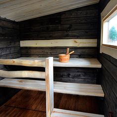 Sauna with the window. Sauna Design, Outdoor Sauna, Finnish Sauna, Cocoon, Spa Rooms, Best Cleaning Products, Saunas, Outdoor Living, Sweet Home