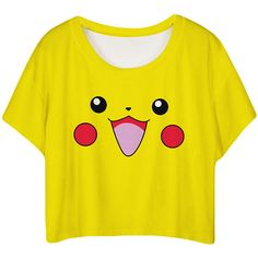 Yellow Lovely Pikachu Printed Ladies T-shirt ($8.19) ❤ liked on Polyvore featuring tops, t-shirts, shirts, crop tops, yellow, yellow top, crop top, yellow tee, crop t shirt and yellow shirt