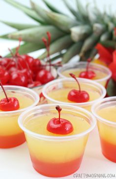 Luau Party Ideas for Adults Pineapple Upside Down Cake Jello Shots - Crafty Morning Jello Shot Recipes, Alcohol Drink Recipes, Salad Recipes, Punch Recipes, Strawberry Jello Shots, Luau Jello Shots, Jello Shots Tequila, Lemon Jello Shots, Jello Shot Cake