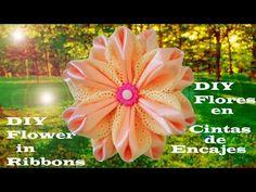 DIY Kanzashi flowers in ribbons and lace embroidery - flores en cintas y encaje bordado - YouTube