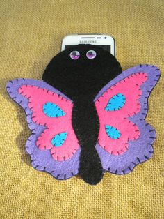 Custom felt phonecase butterfly universal hand made.