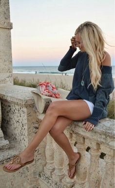 Summer--shorts and big loose sweeter/long sleeve = perfect