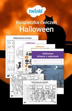 Książeczka z ćwiczeniami na Halloween zawiera kolorowanki, ćwiczenia z matematyki, gry i inne arkusze pracy utrzymane w Halloweenowej atmosferze. #halloween #kolorowanka #liczenie #ćwiczenie #gra #zabawa #pisanie #po #liczbach #duch #dynie #twinkl #szkoła #podstawowa #zestaw #polska #polski #święto Gra, Kawaii, Halloween, Spooky Halloween