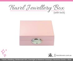 Kazzi Kovers compact Travel Jewellery Box (with lock) fits into your carry-on, suitcase, tote bag, handbag or hotel safe. It is ideal for securing and protecting your valuables; including your rings, earrings, bracelets, necklaces and finer pieces when travelling or for at home purposes. Our jewellery boxes are custom made and crafted from medium density fibreboard (MDF) which is denser, stronger and more durable than regular cardboard jewellery boxes. Available in Black, Pink, Blue or…